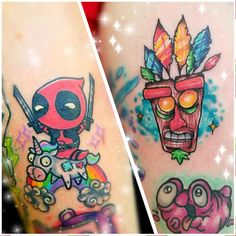 Colorful Small Tattoos by Shannon Luna Parcell Nerdy Tattoos, Marvel Tattoos, Disney Tattoos, Body Art Tattoos, Cool Small Tattoos, Different Tattoos, Cool Tattoos, Dream Tattoos, Future Tattoos