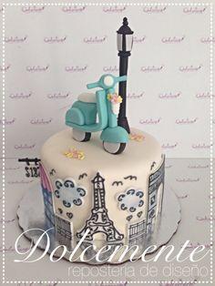 Pastel de fondant París Paris Birthday Cakes, Sweet Birthday Cake, Paris Themed Cakes, Paris Cakes, Bolo Paris, Cake Eater, Fantasy Cake, Food Artists, Cakes For Women