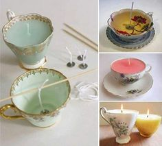 turn your old odd tea cups into candles