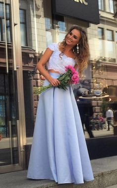 ca85562baba8 Lace And Satin Two Piece Prom Dresses,Lace Top Floor Length Prom Dress,Long  Prom Dress