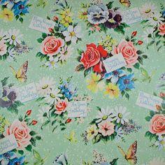 green floral vintage paper
