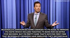 The Tonight Show starring Jimmy Fallon - Monologue - McDonald's 5 second rule