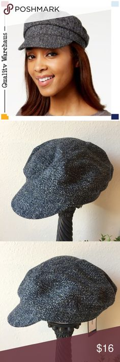 d2591e330b779 NEW Nine West Wool Blend Tweed Flat Cap Black Gray This adorable  menswear-inspired tweed