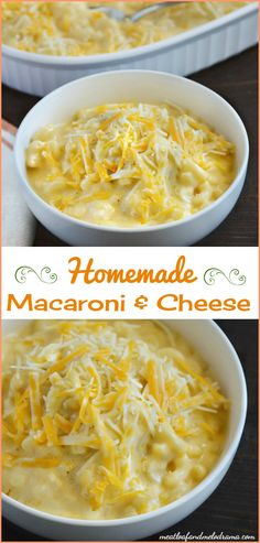 Homemade macaroni and cheese recipe -- It's creamy, smooth and made with 3 kinds of cheese. This easy side dish or kid friendly dinner takes less than 30 minutes to make and is perfect for Thanksgiving and Christmas dinner!