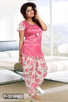 Dil toh Happy Hai Ji with Trendy Satin Patiala Lounge Sets from Tharsith Collection Patiala Dress, Punjabi Dress, Girls Night Dress, Night Gown, Casual Work Outfits, Work Casual, Trendy Fashion, Womens Fashion, Satin Dresses