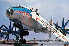 """Japan airlines/Aeroflot Tupolev 114 airplane at Haneda airport, Tokyo, Japan, Cargo Aircraft, New Aircraft, Passenger Aircraft, Military Aircraft, Airport Architecture, Tupolev Tu 144, Road Trip With Dog, Russian Air Force, Military Pictures"