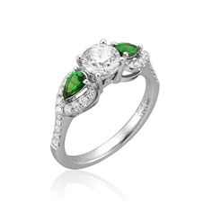 Sweet Green Engagement Ring by @Yael Designs featured on Brides.com