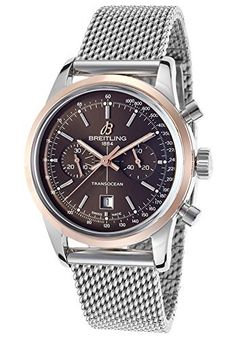 Breitling Men's Transocean Automatic Chronograph 38 Silver-Tone Steel Brown Dial  #automatic #Breitling #Brown+ #Chronograph #dial #Men's #SilverTone #steel #Transocean MonitorWatches.com