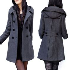 New arrival 2014 plus size autumn and winter  thick  woolen 4xl 5xl 6xl big size women wool  trench  coat $67.09