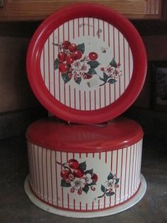 Vintage metal cake carrier w/ matching tray, cherries & stripes