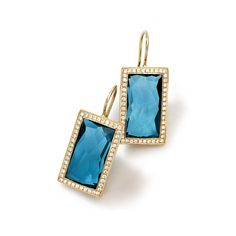 18K Gold Small Baguette Vertical Earrings in London Blue Topaz, from the Rock Candy Collection, by Ippolita