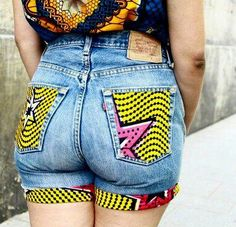 Ankara denim shorts