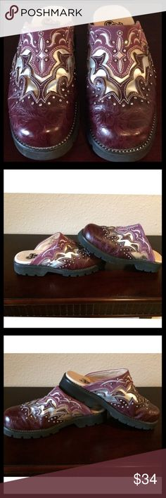 #1 of 2 JUSTIN CLOG IN MAUVE & SILVER W/RHINESTONE Justin women's mule clog n dark mauve & silver leather w/rhinestones. SZ 6 1/2. Leather upper & balance of man made material. Rhinestone detail across leather & around clogs. Great condition w/some signs of wear in the leather where it bent from use and leather rubbed off. Insoles wear, c pics (where heel rests). Not noticeable when on feet. Soles of shoes limited wear. From my eyesight, all rhinestones intact. Oil resistant bottom. See…