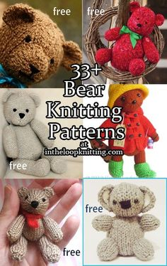 Knitting patterns for Teddy Bears and more of your favorite bears - koala, polar, paddington, panda. Most patterns are free