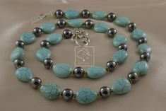 Turquoise beads match well with hematite. In fact, hematite goes with anything. Turquoise Beads, Turquoise Bracelet, Beadwork, I Am Awesome, My Design, Times, Bracelets, Jewelry, Bangles