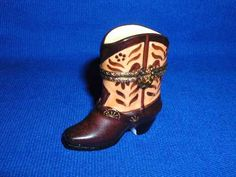 BROWN COWBOY BOOT - Porcelain Limoges from France - Limoges Factory Co.