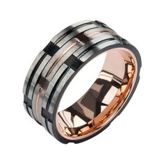 Men's Steel Band With Rose Gold And Black PVD Inlays Strips (Size 9)