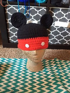 Mickey mouse crocheted hat by CraftyDiva23 on Etsy