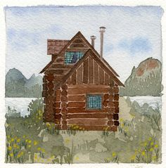 Alexandra Huard: Alaska via Canadian Pacific Alaska, Little Cabin, Cabins In The Woods, Painting Inspiration, Home Art, Watercolor Paintings, Art Projects, Art Photography, Sweet Home