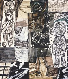 Jean Dubuffet (French, 1901-1985), Site à la source, 1978. Acrylic and paper collage on canvas