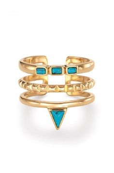 The Turquoise Stone Stacked Ring gives the look of layers in just one piece! Shop stacked rings at Stella & Dot.