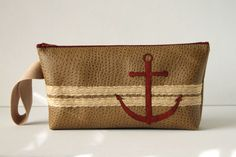 nautical clutch  anchors aweigh  brick red by SnapDragonStyle, $32.00