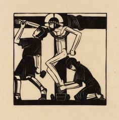 """Jesus is Nailed to the Cross"" by Eric Gill (1917).  Tate Collection.  Relief print on paper."
