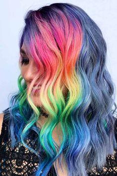 21 Rainbow Hair Styles to Look Like a Unicorn ★ Long Rainbow Hair Ideas for a Bright Everyday Look Picture 6 ★ See more: http://glaminati.com/rainbow-hair/ #rainbowhair #rainbowhairpastel