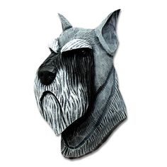 Schnauzer Head Plaque Figurine Salt/Pepper This beautiful Schnauzer plaque is cast from a piece of hand carved wood. The wood is hand carved to give the dog a two dimensional detailing. The plaque is then cast from the wooden mold and hand painted. Made in the USA, these plaques can be hanged on any wall …