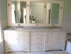Amazing Wall Mounted White Triple Bathroom Mirror Cabinets Design Over Modern Bathroom Vanity Ideas With Double Sink White Marble Top As Inspiring Modern Furnishing Bathroom Designs Ikea Bathroom Vanity, White Bathroom Cabinets, Bathroom Mirror Cabinet, Glass Bathroom, Bathroom Styling, Small Bathroom, Bathroom Ideas, Vanity Cabinet, Bathroom Furniture