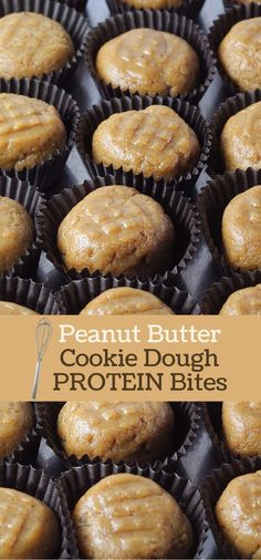 Give your peanut butter a protein boost by turning it into Peanut Butter Cookie Dough Protein Bites! Add peanut butter and water to the mix. No baking required. Easy! 13g protein, 8g carbs, 8g fat per
