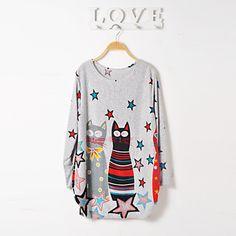 nouvelle robe d'impression de chat de bande dessinée des femmes - EUR € 8.17