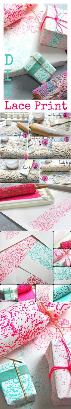 DIY Lace Print Wrapping Paper