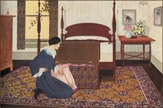 1921 Congoleum Bedroom Rug    Congoleum and Armstrong went head to head on color advertising for decades. This is a very attractive, early modern ad that illustrates the beginning of the Deco influence.