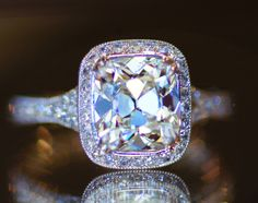 #antique #halo #engagementring THIS IS STUNNING 2.20ct J VS2 August Vintage cushion in a custom made halo