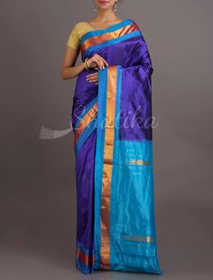 Aahuti Blue And Blue Solid Gold Border Pure #NarayanpetSilkSaree