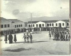 Υποστολή σημαίας (1950) Crete, Old School, Old Things, Street View, Outdoor, Schools, Students, Memories, Photos