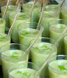Verrines concombre, lait de coco et coriandre....reépinglé par Maurie Daboux .•*`*•. ❥