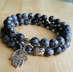 Tibetan Silver Buddha snowflake obsidian bracelet detoxifying and purity stackable bracelets mala beads meditation bracelet gifts men B181 by OrientAppeal on Etsy