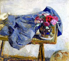 Red Roses and a Cloth on a Table,1900-1901, Edouard Vuillard
