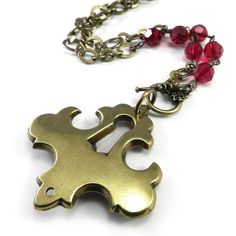 Antique Steampunk Keyhole Necklace - Front Toggle - Red Scarlet Crystal - Vintage Upcycled Steampunk Jewelry by Compass Rose Design - handmade in California