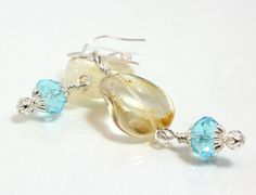 Wire Wrapped Citrine and Blue Crystal Dangle Earrings, $22