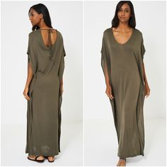 Womens Khaki Green Lagenlook Jersey Kimono Beach Cover Up Kaftan Maxi Dress NEW Kimono Beach Cover Up, Khaki Green, Kaftan, New Outfits, Beachwear, Cold Shoulder Dress, Summer Dresses, Clothes For Women, Clothing