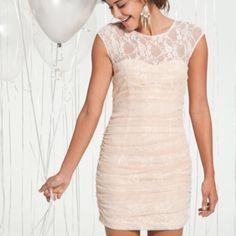 """Lace Illusion Dress Romantic blush cream lace dress with all over mesh. Hidden zipper and button closure in the back. 30"""" shoulder to hem, 24"""" waist. Stretchy material. Dry clean only. Stain at the bottom, not very noticeable. Worn one time. En Créme Dresses Mini"""