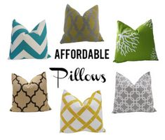 Bold, graphic throw pillows available on Amazon.  (via TartHouse)