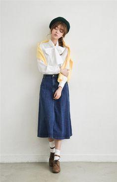 207894e32e86f スカート - ワンボタンAラインロング丈カジュアル系デニムスカート