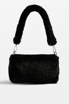 Ladies Plain Statement Fluffy Faux Fur Over Shoulder Clutch Bag Removable Strap