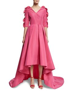 3/4-Sleeve High-Low Gown W/Petals, Passion Pink, Women's, Size: 2 - Christian Siriano
