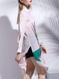 Khaki V neck Short sleeve A-line Casual Printed Linen Maxi Dress