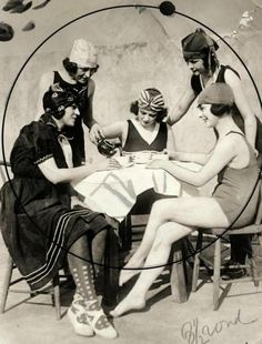 Five lovely young ladies enjoying a summertime tea party, 1921. #vintage #1920s #swimsuits